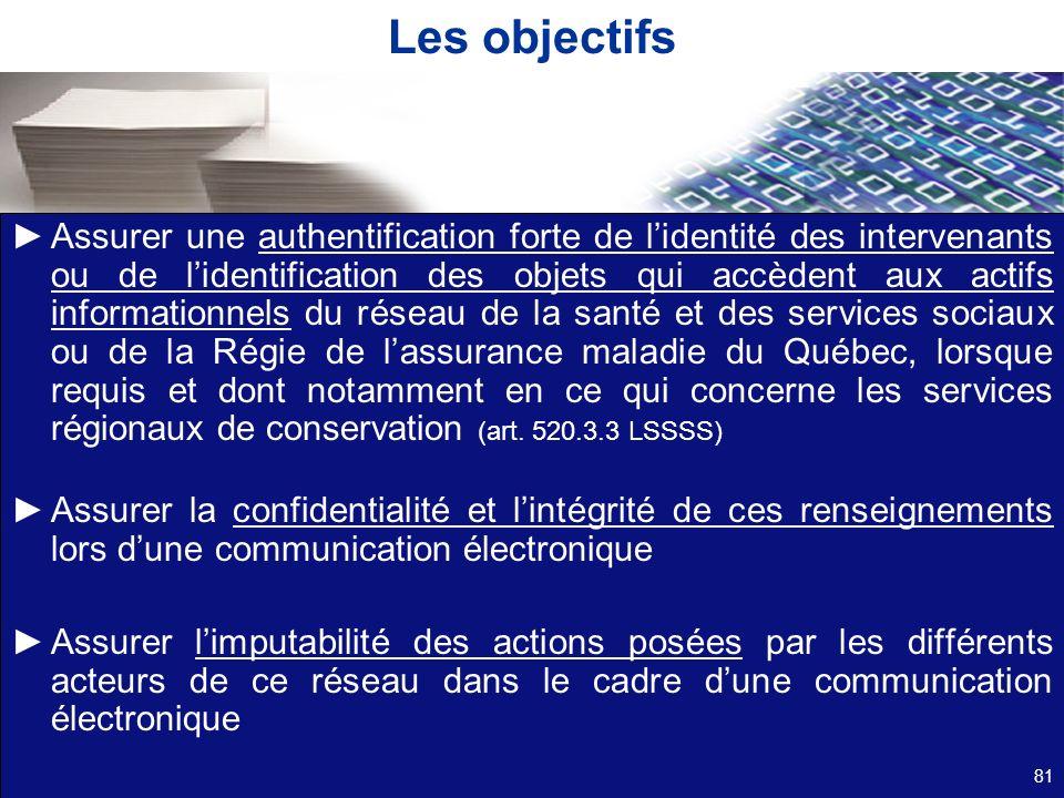 Les objectifs Assurer une authentification forte de lidentité des intervenants ou de lidentification des objets qui accèdent aux actifs informationnel