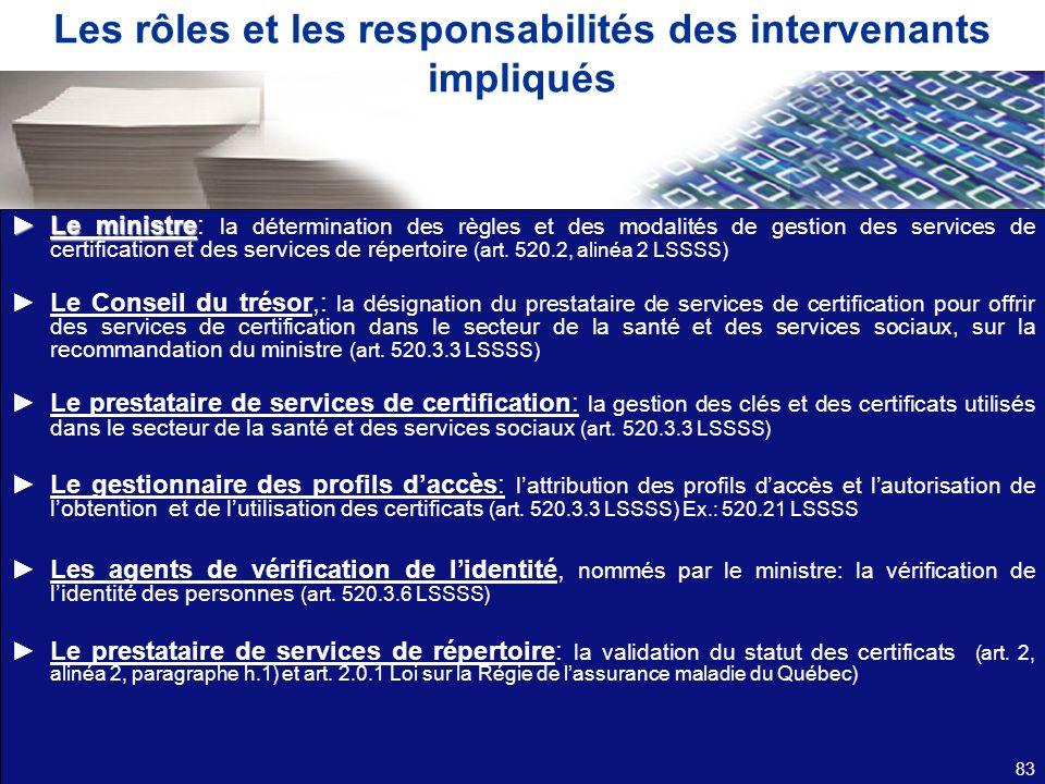 Les rôles et les responsabilités des intervenants impliqués Le ministreLe ministre: la détermination des règles et des modalités de gestion des servic