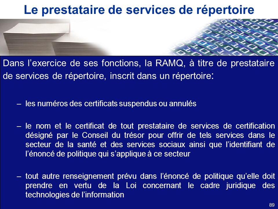 Le prestataire de services de répertoire Dans lexercice de ses fonctions, la RAMQ, à titre de prestataire de services de répertoire, inscrit dans un r