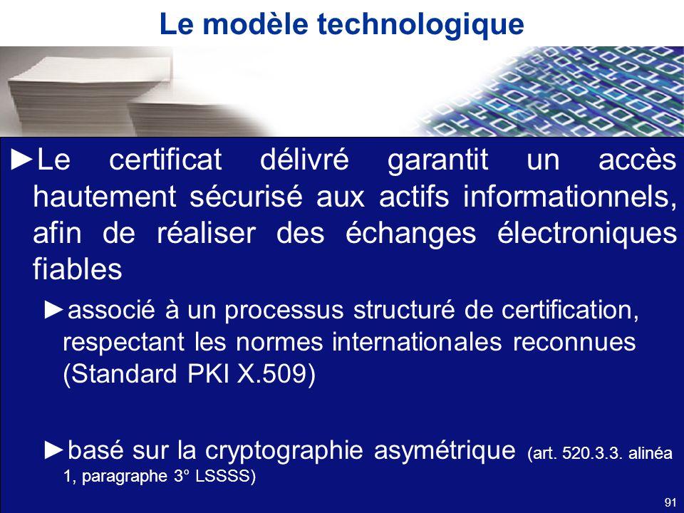 Le modèle technologique Le certificat délivré garantit un accès hautement sécurisé aux actifs informationnels, afin de réaliser des échanges électroni