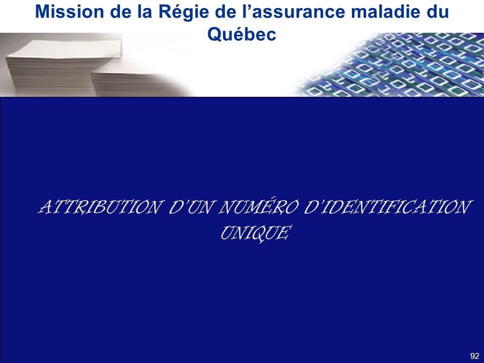 Mission de la Régie de lassurance maladie du Québec 92 ATTRIBUTION DUN NUMÉRO DIDENTIFICATION UNIQUE