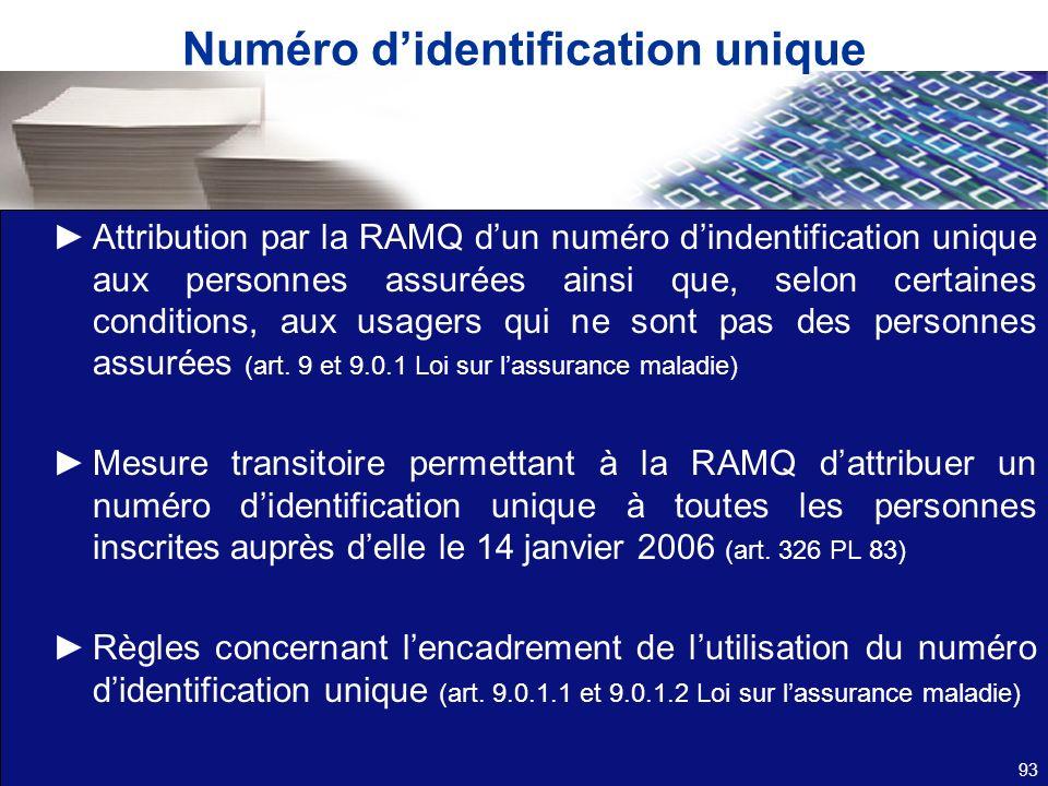 Numéro didentification unique Attribution par la RAMQ dun numéro dindentification unique aux personnes assurées ainsi que, selon certaines conditions,
