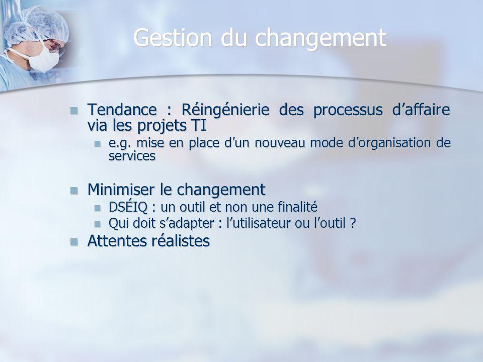 Gestion du changement Tendance : Réingénierie des processus daffaire via les projets TI Tendance : Réingénierie des processus daffaire via les projets