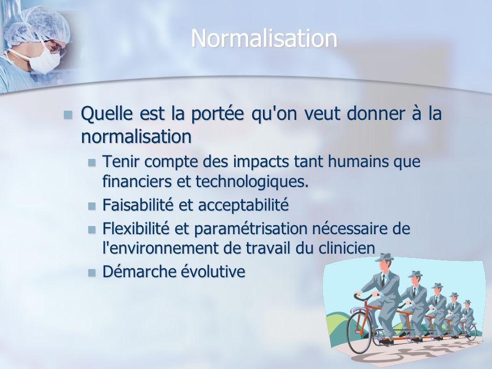 Normalisation Quelle est la portée qu'on veut donner à la normalisation Quelle est la portée qu'on veut donner à la normalisation Tenir compte des imp