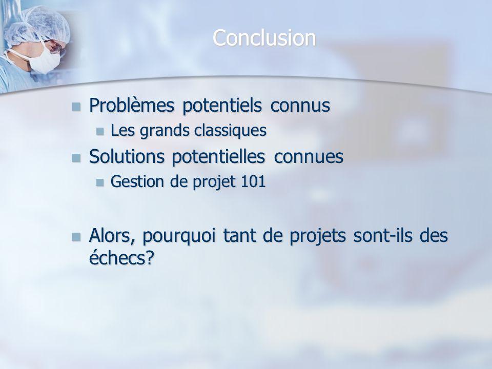 Conclusion Problèmes potentiels connus Problèmes potentiels connus Les grands classiques Les grands classiques Solutions potentielles connues Solution