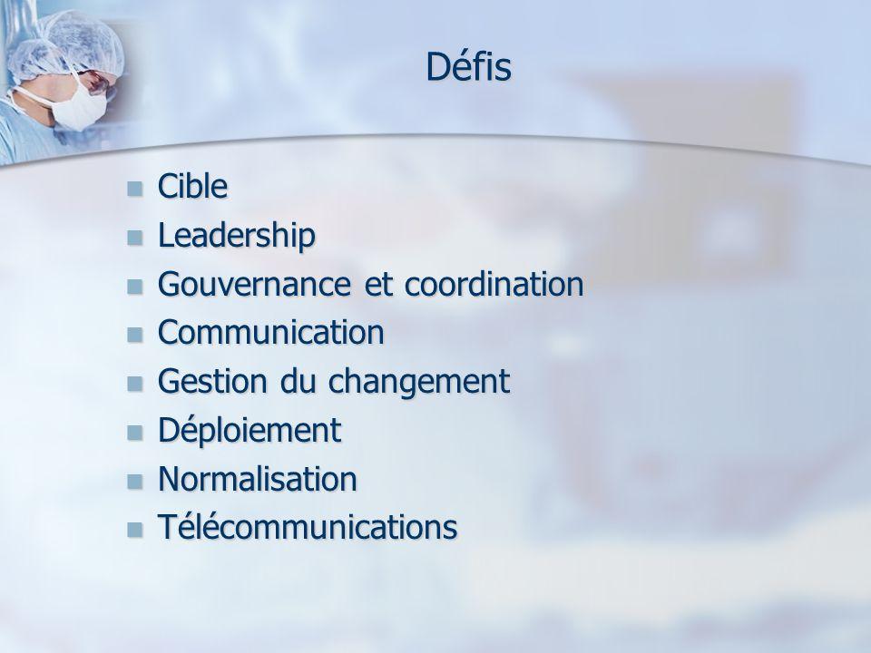 Défis Cible Cible Leadership Leadership Gouvernance et coordination Gouvernance et coordination Communication Communication Gestion du changement Gest