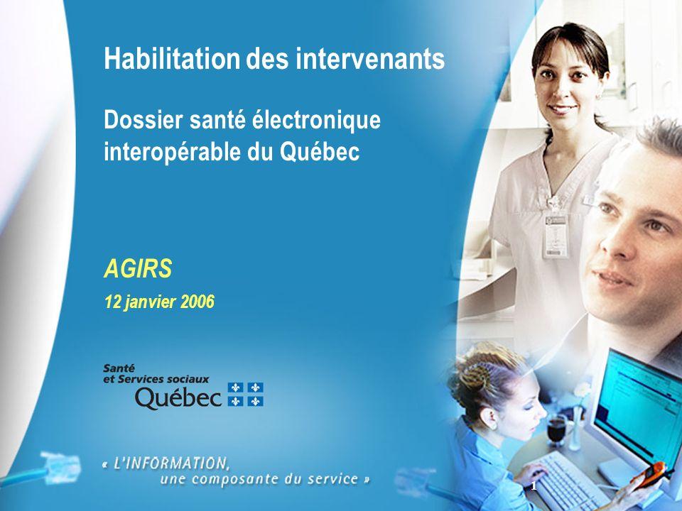 1 Habilitation des intervenants Dossier santé électronique interopérable du Québec AGIRS 12 janvier 2006