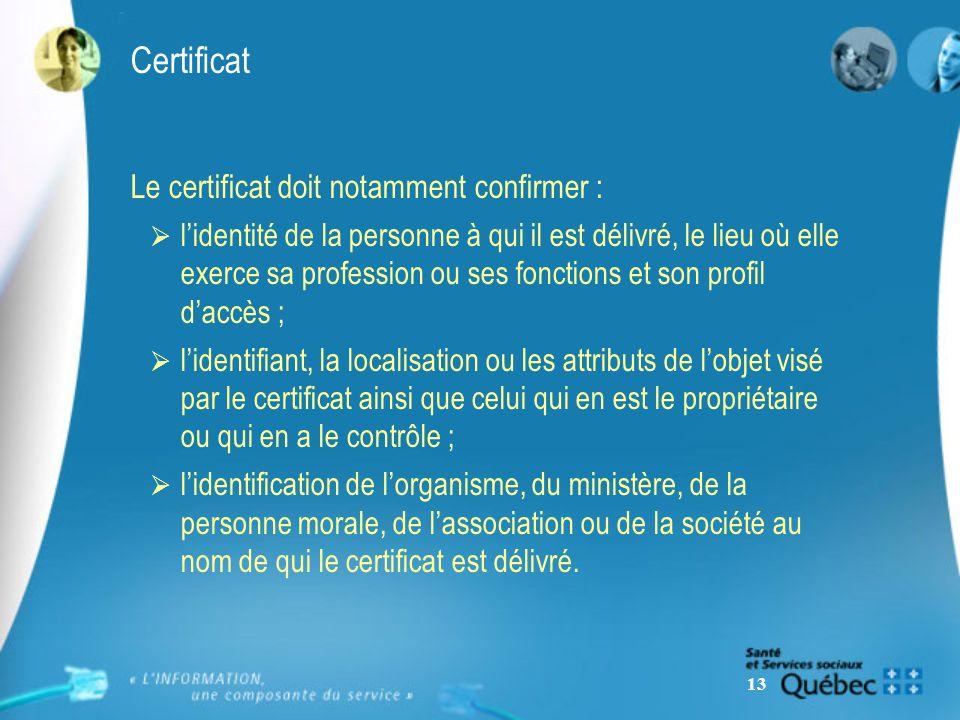 13 Certificat Le certificat doit notamment confirmer : lidentité de la personne à qui il est délivré, le lieu où elle exerce sa profession ou ses fonc