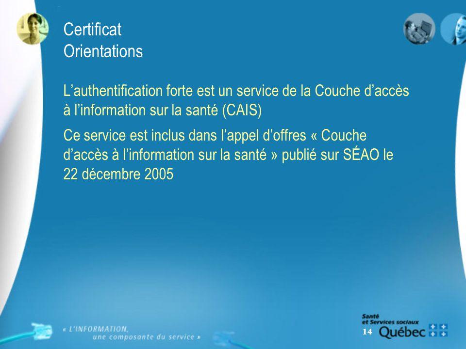 14 Certificat Orientations Lauthentification forte est un service de la Couche daccès à linformation sur la santé (CAIS) Ce service est inclus dans lappel doffres « Couche daccès à linformation sur la santé » publié sur SÉAO le 22 décembre 2005