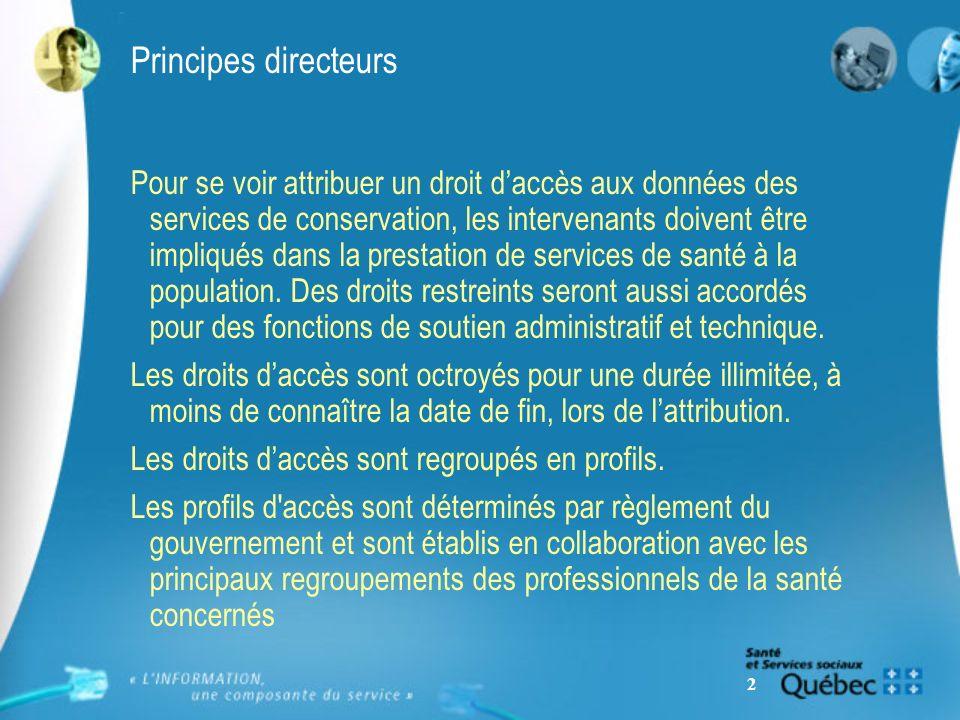 2 Principes directeurs Pour se voir attribuer un droit daccès aux données des services de conservation, les intervenants doivent être impliqués dans l