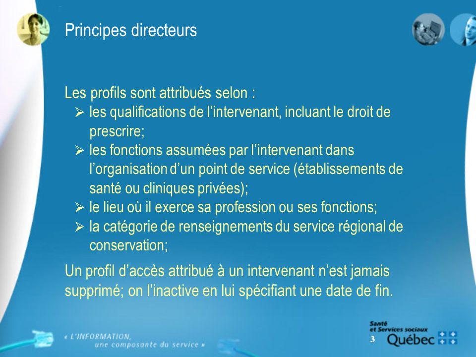 3 Principes directeurs Les profils sont attribués selon : les qualifications de lintervenant, incluant le droit de prescrire; les fonctions assumées p