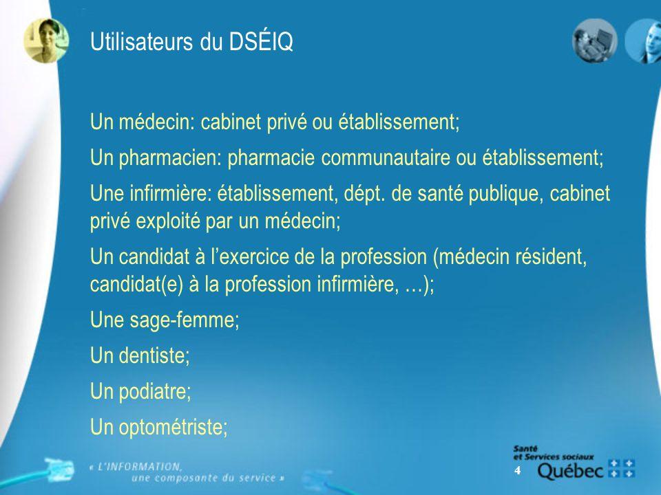 4 Utilisateurs du DSÉIQ Un médecin: cabinet privé ou établissement; Un pharmacien: pharmacie communautaire ou établissement; Une infirmière: établissement, dépt.
