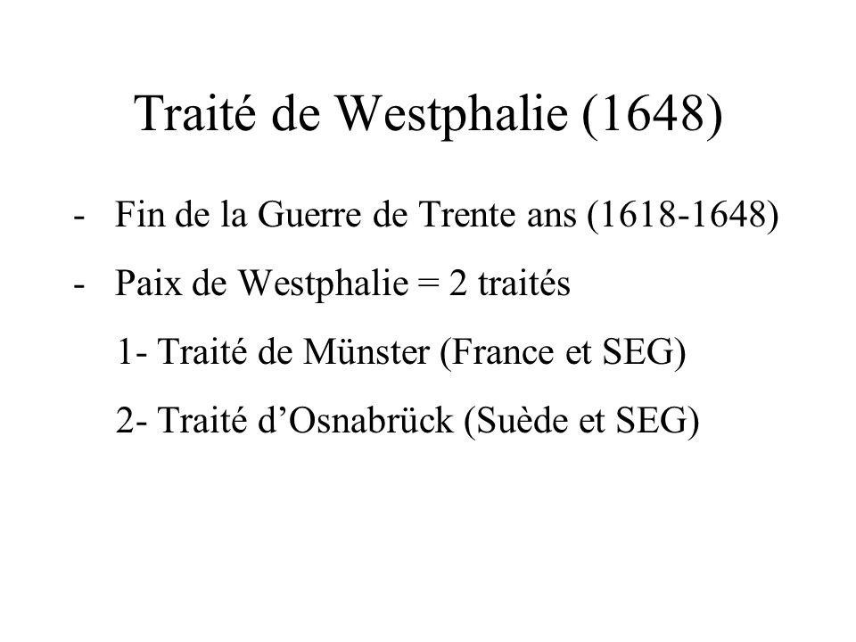 Traité de Westphalie (1648) - Fin de la Guerre de Trente ans (1618-1648) - Paix de Westphalie = 2 traités 1- Traité de Münster (France et SEG) 2- Trai