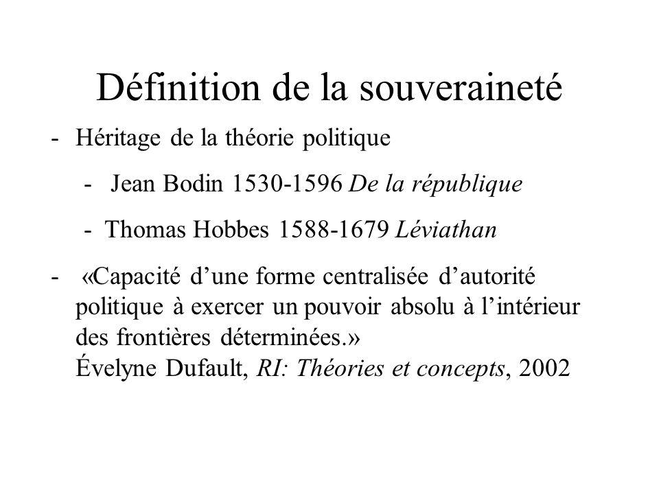 Définition de la souveraineté -Héritage de la théorie politique - Jean Bodin 1530-1596 De la république -Thomas Hobbes 1588-1679 Léviathan - «Capacité