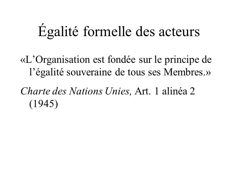 Égalité formelle des acteurs «LOrganisation est fondée sur le principe de légalité souveraine de tous ses Membres.» Charte des Nations Unies, Art. 1 a