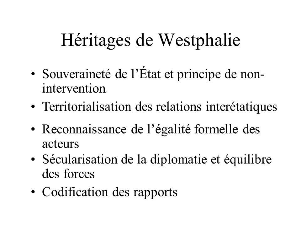 - Reconnaissance mutuelle de la souveraineté - Droit des peuples à disposer deux-mêmes - Réciprocité (comportement symétrique) - Équité (modère légalité)