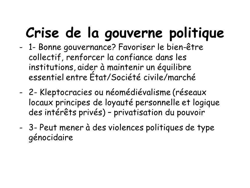 Crise de la gouverne politique -1- Bonne gouvernance? Favoriser le bien-être collectif, renforcer la confiance dans les institutions, aider à mainteni