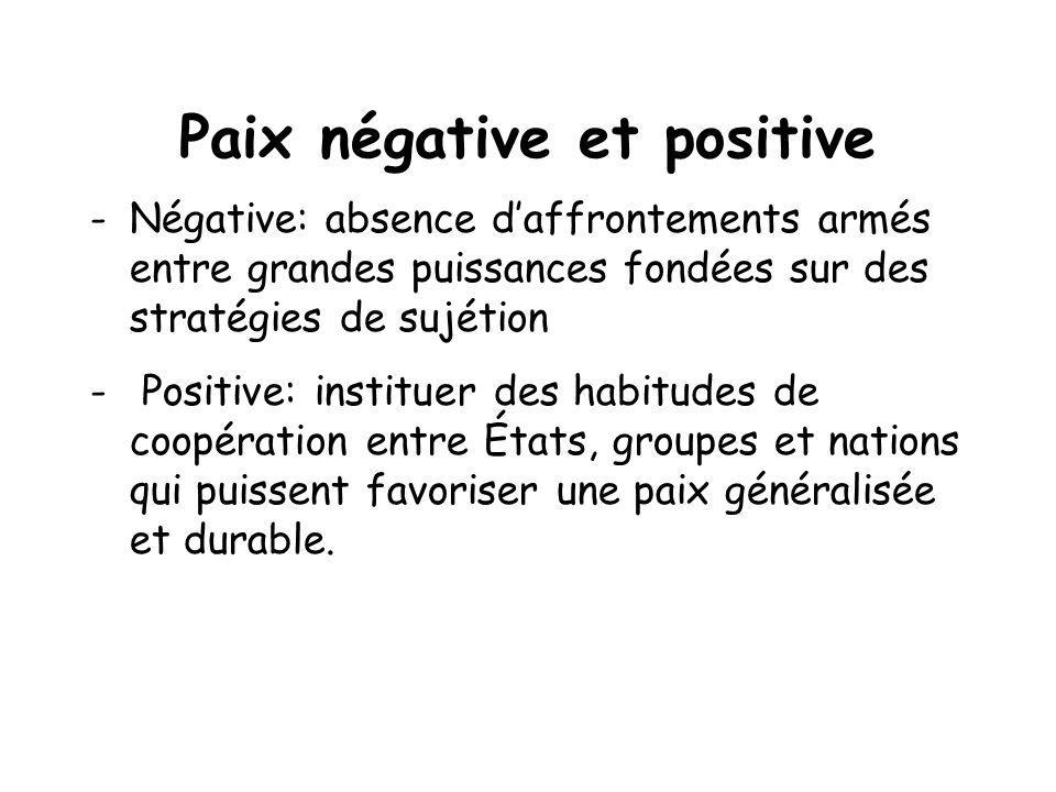 Paix négative et positive -Négative: absence daffrontements armés entre grandes puissances fondées sur des stratégies de sujétion - Positive: institue