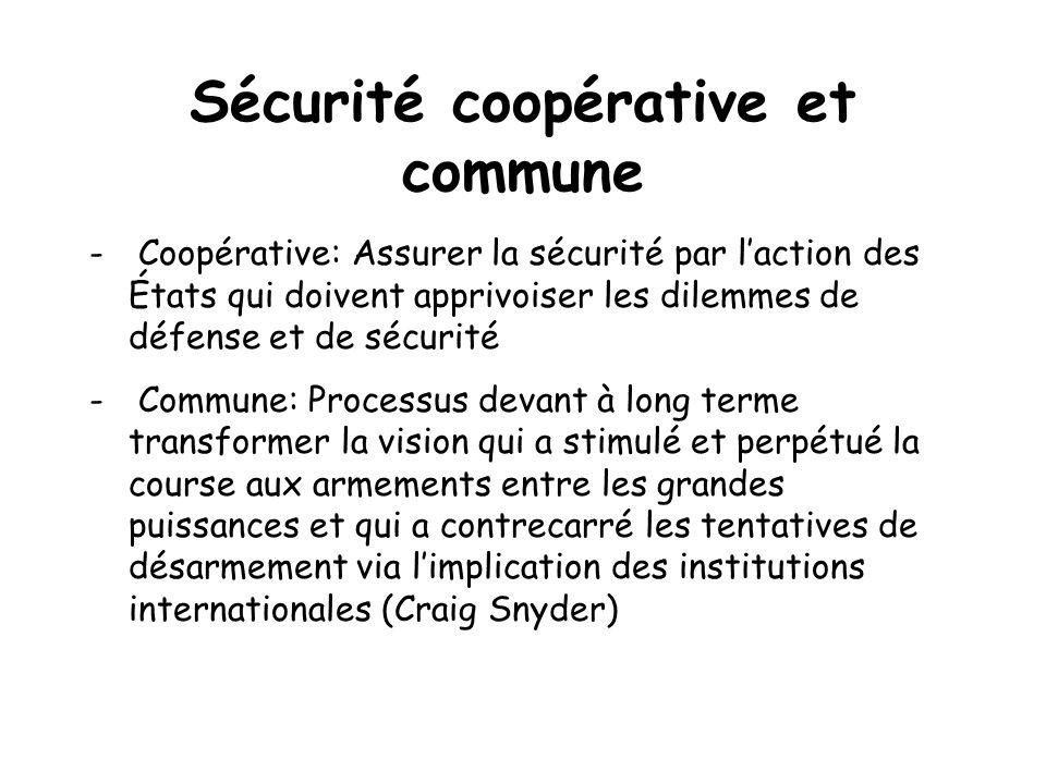 Sécurité coopérative et commune - Coopérative: Assurer la sécurité par laction des États qui doivent apprivoiser les dilemmes de défense et de sécurit
