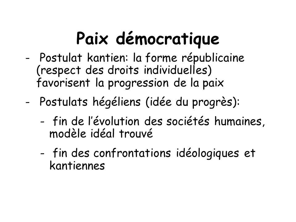Paix démocratique - Postulat kantien: la forme républicaine (respect des droits individuelles) favorisent la progression de la paix - Postulats hégéli