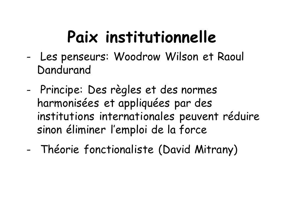 Paix institutionnelle - Les penseurs: Woodrow Wilson et Raoul Dandurand - Principe: Des règles et des normes harmonisées et appliquées par des institu