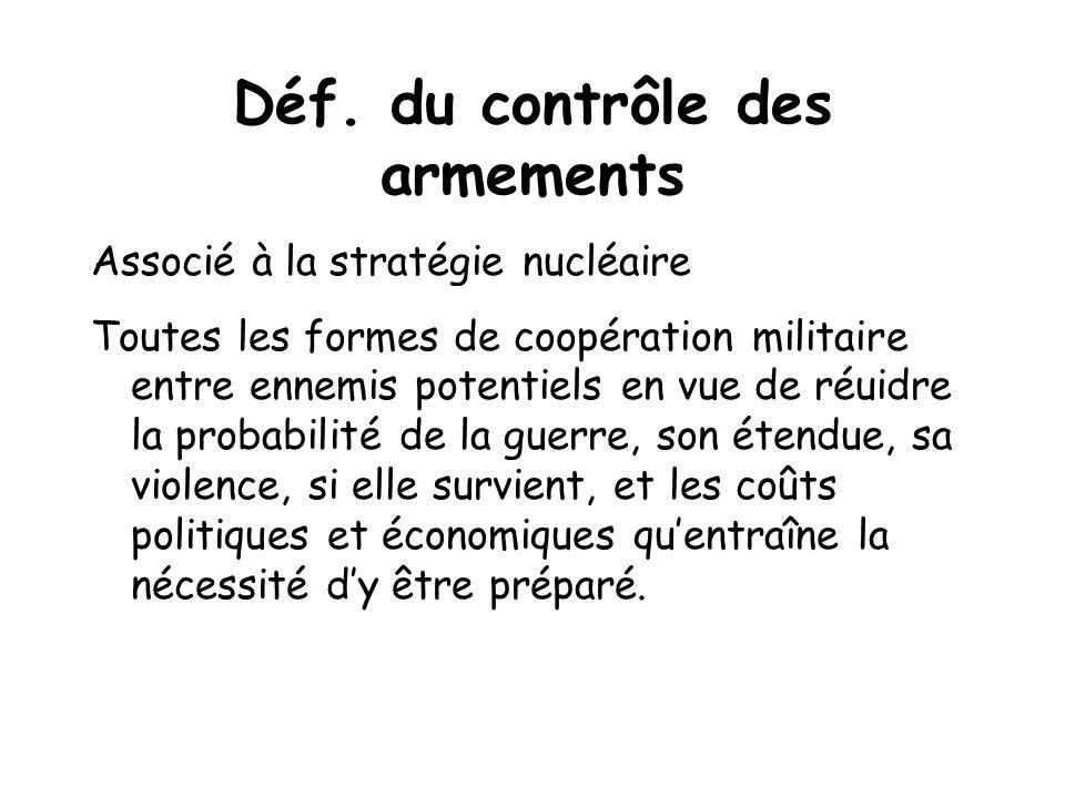 Déf. du contrôle des armements Associé à la stratégie nucléaire Toutes les formes de coopération militaire entre ennemis potentiels en vue de réuidre