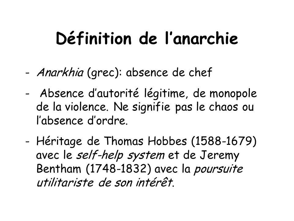 Définition de lanarchie -Anarkhia (grec): absence de chef - Absence dautorité légitime, de monopole de la violence.
