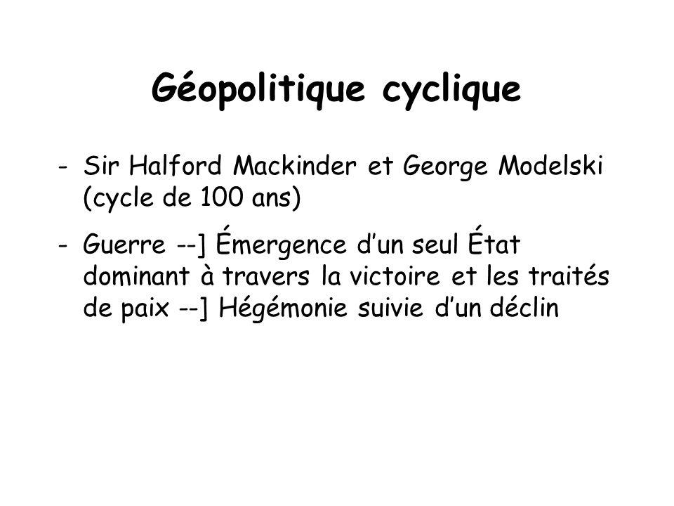 Géopolitique cyclique -Sir Halford Mackinder et George Modelski (cycle de 100 ans) -Guerre --] Émergence dun seul État dominant à travers la victoire et les traités de paix --] Hégémonie suivie dun déclin