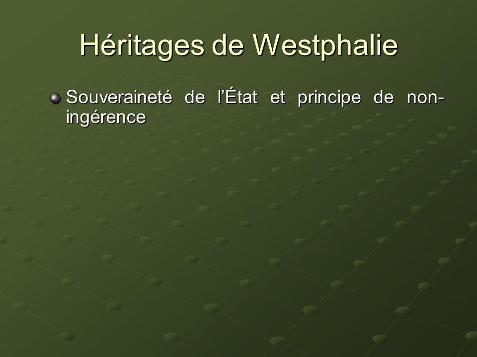 Héritages de Westphalie Souveraineté de lÉtat et principe de non- ingérence