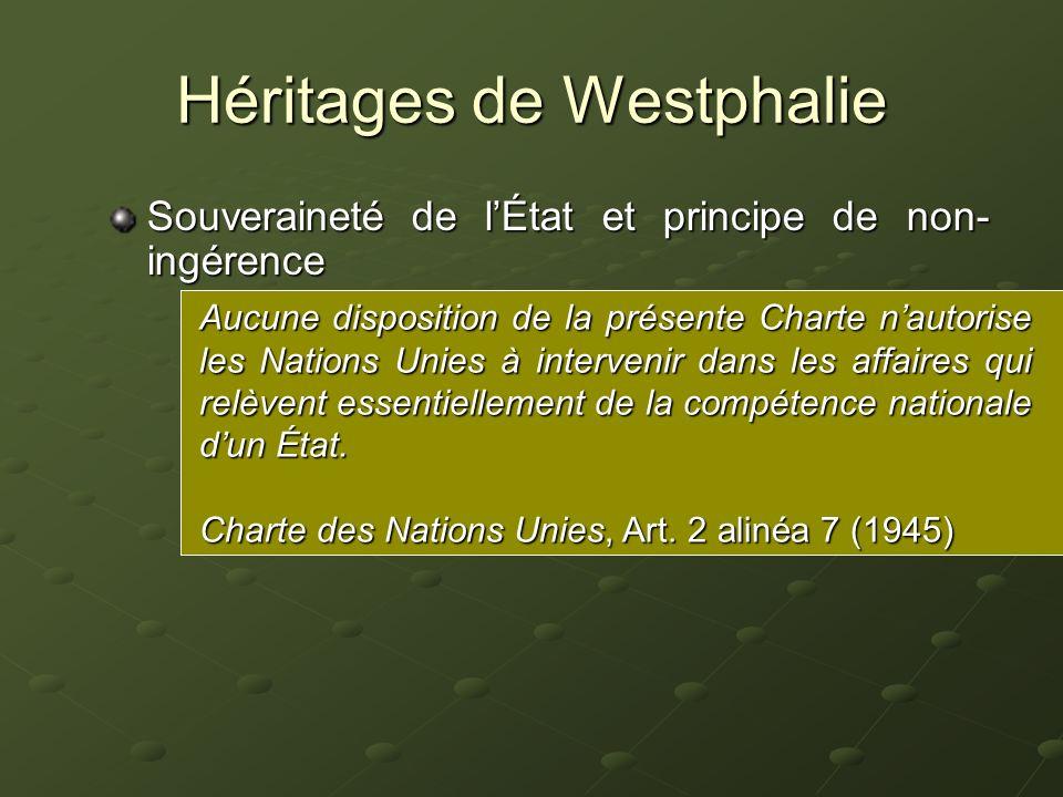Héritages de Westphalie Souveraineté de lÉtat et principe de non- ingérence Capacité dune forme centralisée dautorité politique à exercer un pouvoir a