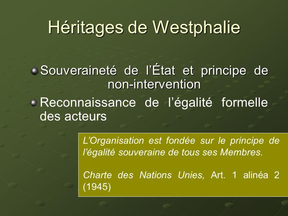 Héritages de Westphalie Souveraineté de lÉtat et principe de non-intervention Reconnaissance de légalité formelle des acteurs Diplomatie horizontale et principe déquilibre de puissances