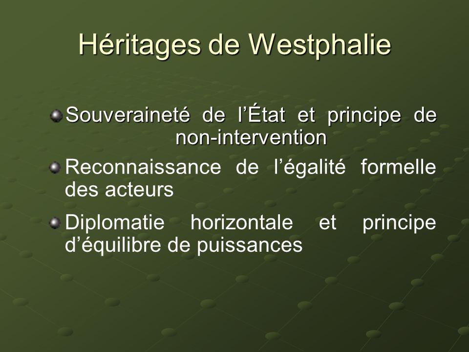 Héritages de Westphalie Souveraineté de lÉtat et principe de non-intervention Reconnaissance de légalité formelle des acteurs Diplomatie horizontale e