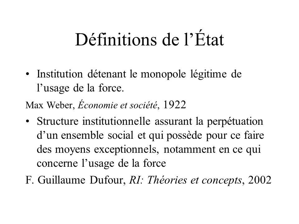 Définitions de lÉtat Institution détenant le monopole légitime de lusage de la force. Max Weber, Économie et société, 1922 Structure institutionnelle