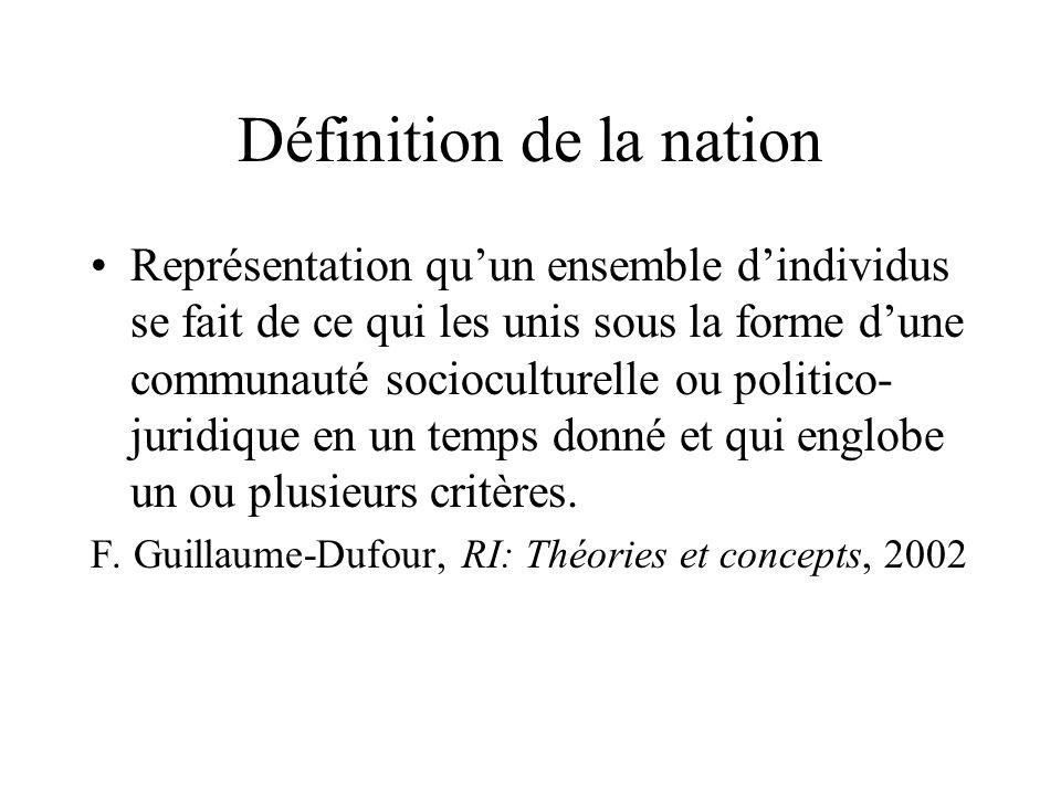 Définition de la nation Représentation quun ensemble dindividus se fait de ce qui les unis sous la forme dune communauté socioculturelle ou politico-