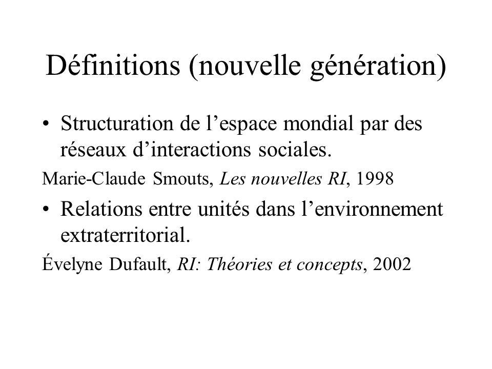 Définitions (nouvelle génération) Structuration de lespace mondial par des réseaux dinteractions sociales. Marie-Claude Smouts, Les nouvelles RI, 1998