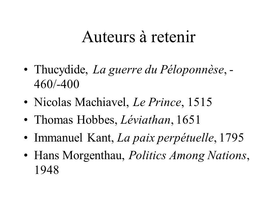Auteurs à retenir Thucydide, La guerre du Péloponnèse, - 460/-400 Nicolas Machiavel, Le Prince, 1515 Thomas Hobbes, Léviathan, 1651 Immanuel Kant, La