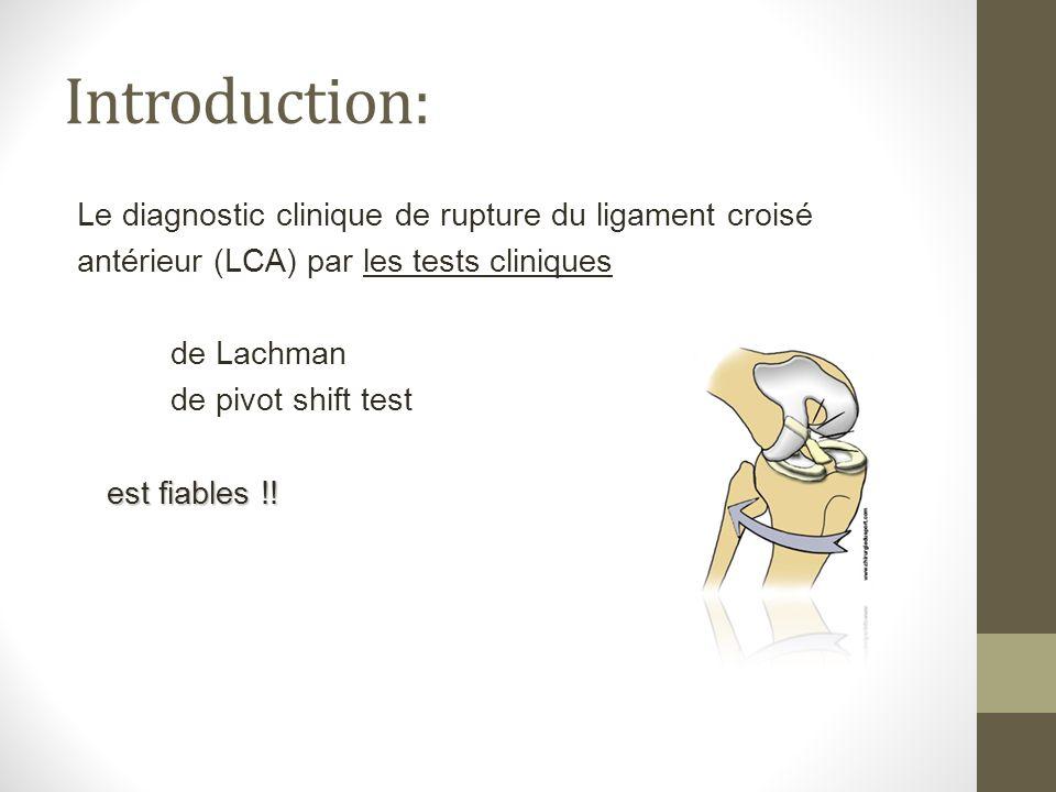 Introduction: Le diagnostic clinique de rupture du ligament croisé antérieur (LCA) par les tests cliniques de Lachman de pivot shift test est fiables