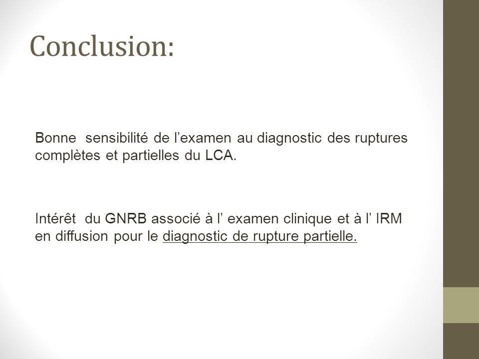 Conclusion: Bonne sensibilité de lexamen au diagnostic des ruptures complètes et partielles du LCA. Intérêt du GNRB associé à l examen clinique et à l