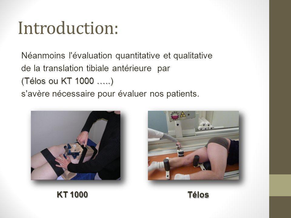 Introduction: Néanmoins l'évaluation quantitative et qualitative de la translation tibiale antérieure par (Télos ou KT 1000 …..) s'avère nécessaire po
