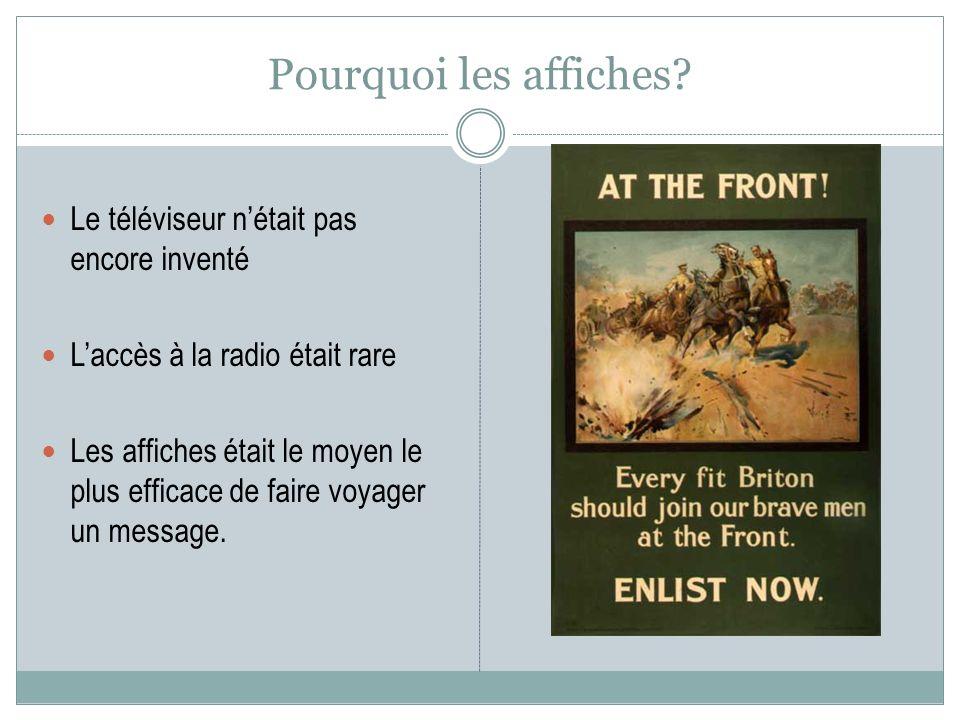 Pourquoi les affiches? Le téléviseur nétait pas encore inventé Laccès à la radio était rare Les affiches était le moyen le plus efficace de faire voya