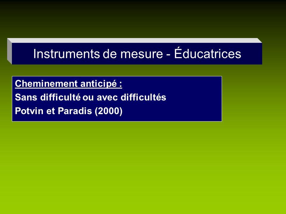 Instruments de mesure - Éducatrices Cheminement anticipé : Sans difficulté ou avec difficultés Potvin et Paradis (2000)