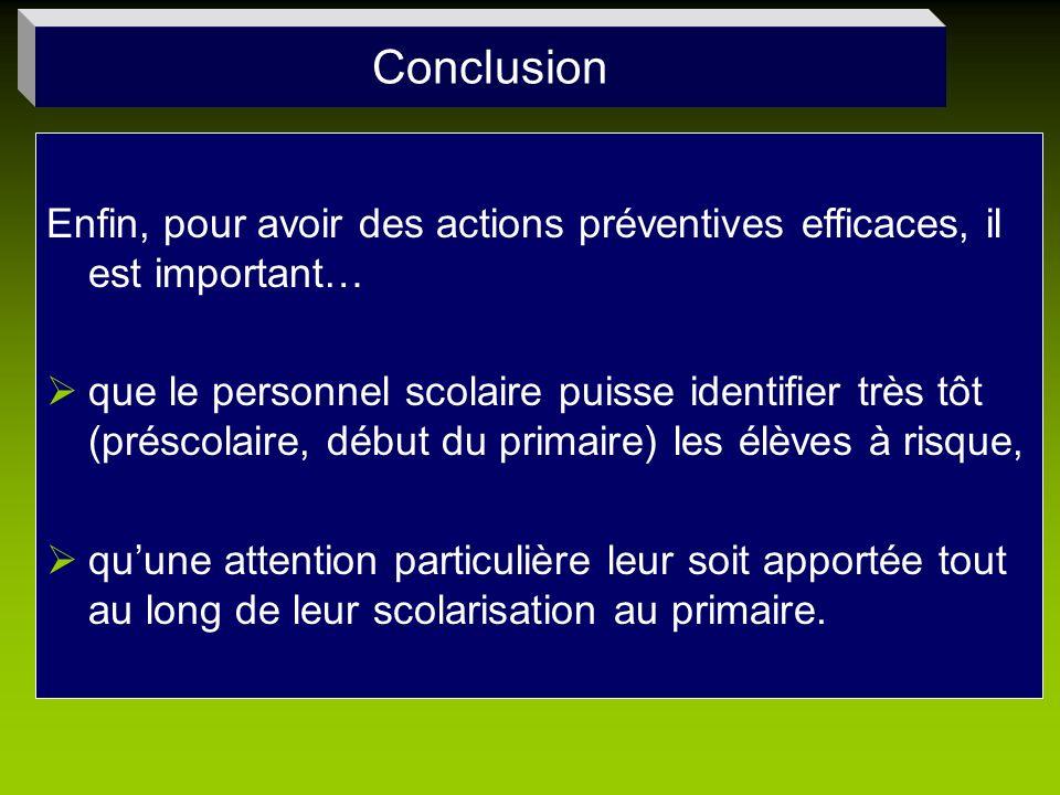 Conclusion Enfin, pour avoir des actions préventives efficaces, il est important… que le personnel scolaire puisse identifier très tôt (préscolaire, d