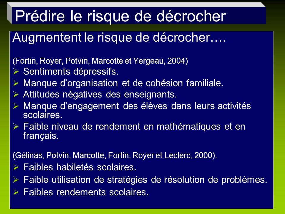 Augmentent le risque de décrocher…. (Fortin, Royer, Potvin, Marcotte et Yergeau, 2004) Sentiments dépressifs. Manque dorganisation et de cohésion fami