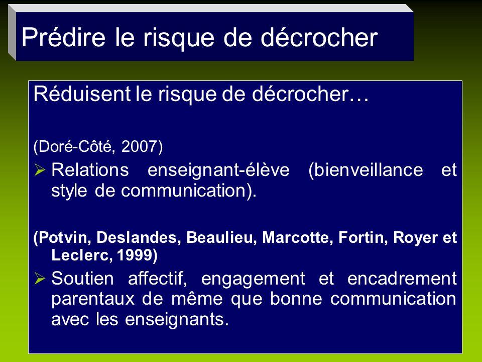 Réduisent le risque de décrocher… (Doré-Côté, 2007) Relations enseignant-élève (bienveillance et style de communication). (Potvin, Deslandes, Beaulieu