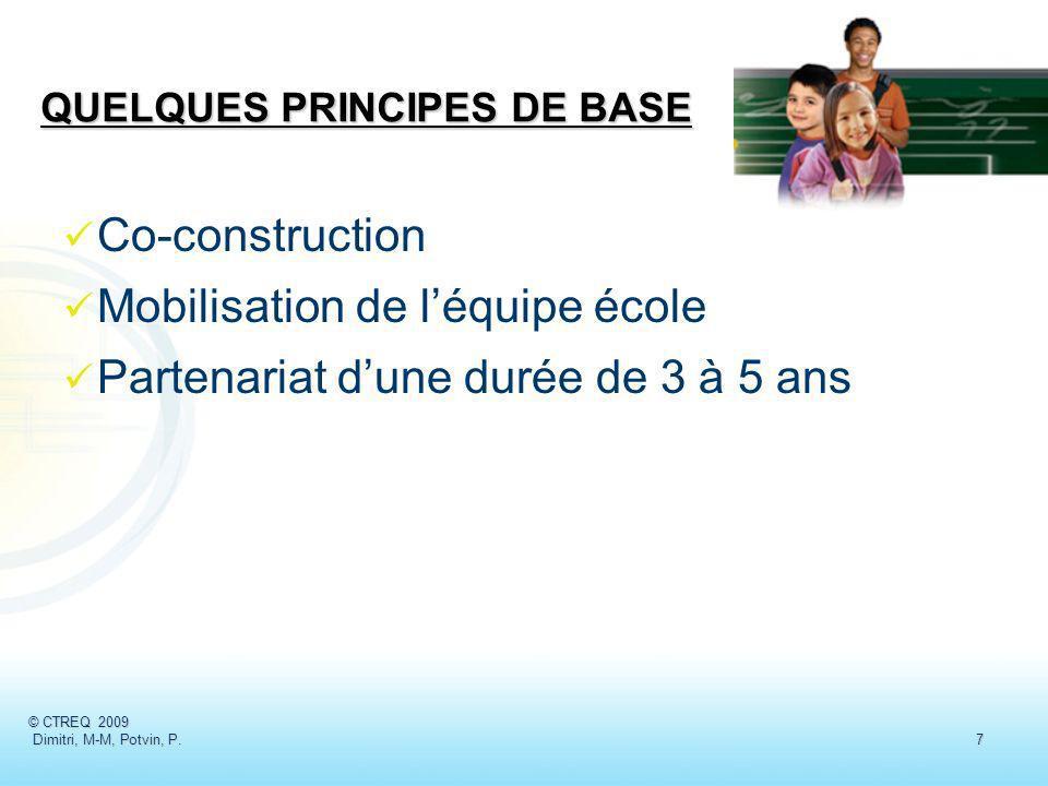 Co-construction Mobilisation de léquipe école Partenariat dune durée de 3 à 5 ans © CTREQ 2009 Dimitri, M-M, Potvin, P.7 Dimitri, M-M, Potvin, P.7 QUE