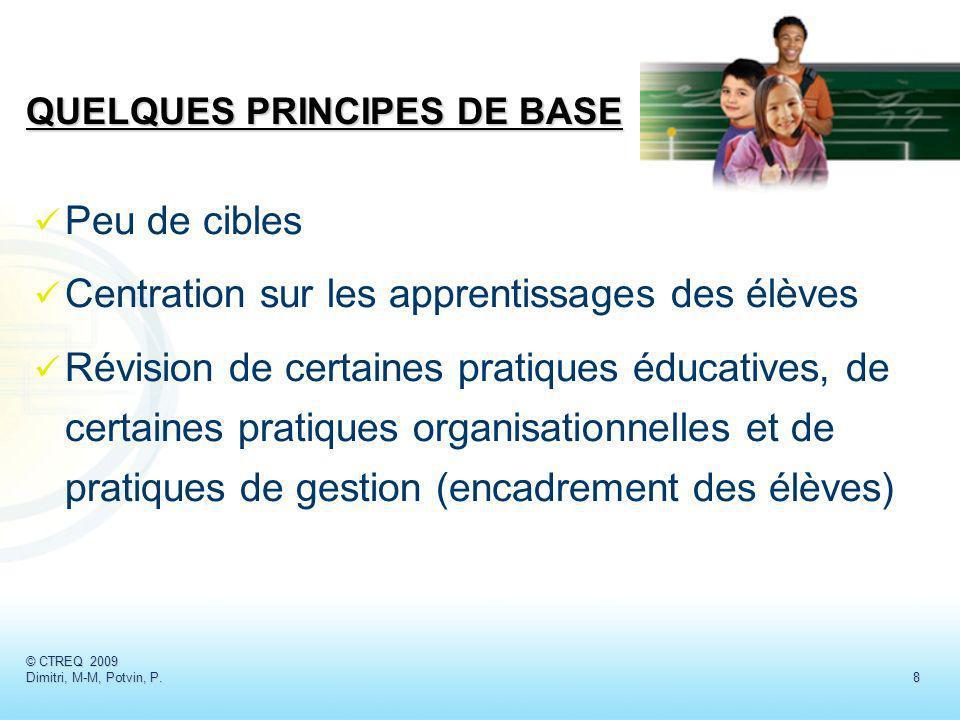 Peu de cibles Centration sur les apprentissages des élèves Révision de certaines pratiques éducatives, de certaines pratiques organisationnelles et de