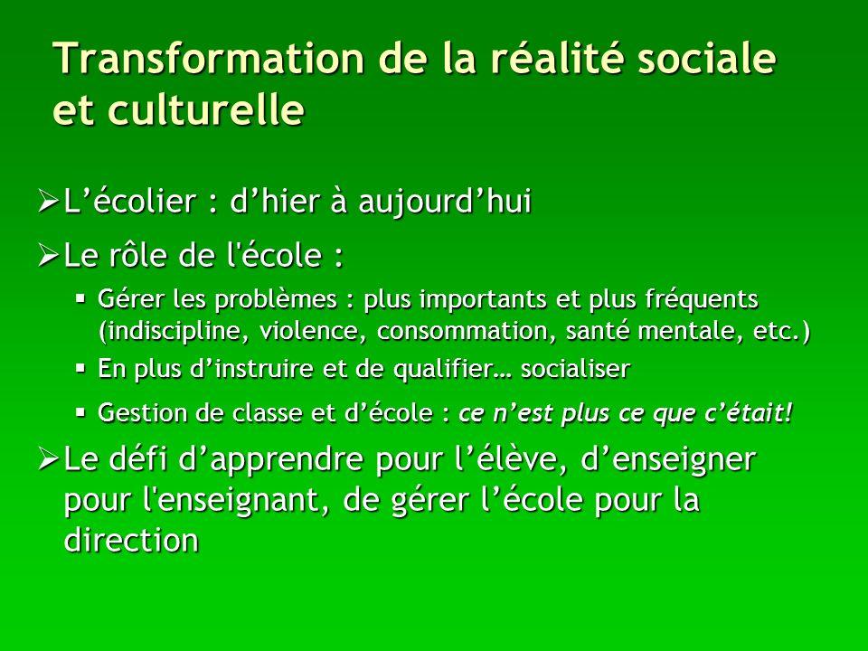 Transformation de la réalité sociale et culturelle Lécolier : dhier à aujourdhui Lécolier : dhier à aujourdhui Le rôle de l'école : Le rôle de l'école
