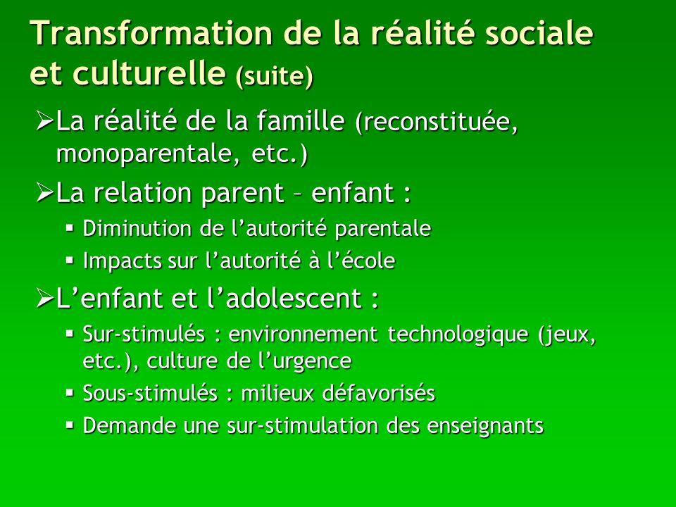 Transformation de la réalité sociale et culturelle (suite) La réalité de la famille (reconstituée, monoparentale, etc.) La réalité de la famille (reco