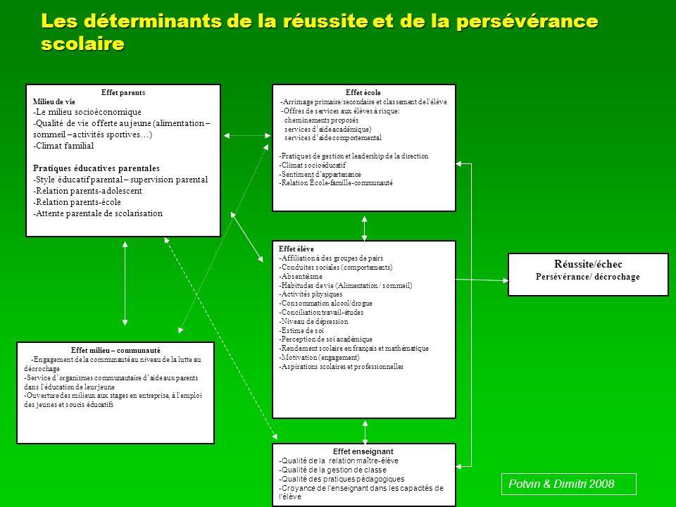 Les déterminants de la réussite et de la persévérance scolaire Effet parents Milieu de vie -Le milieu socioéconomique -Qualité de vie offerte au jeune