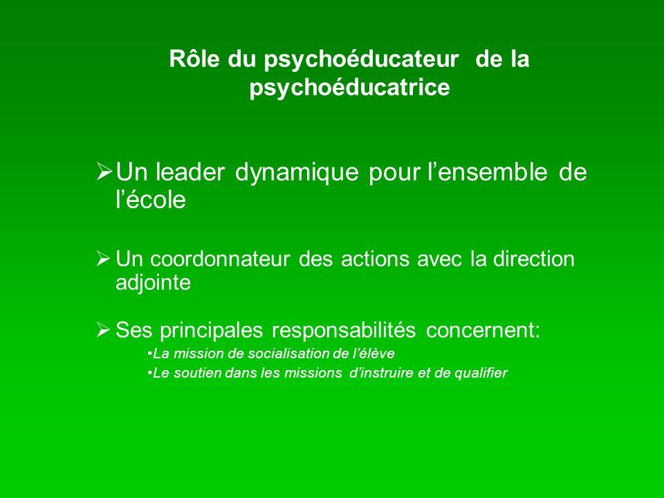 Rôle du psychoéducateur de la psychoéducatrice Un leader dynamique pour lensemble de lécole Un coordonnateur des actions avec la direction adjointe Se